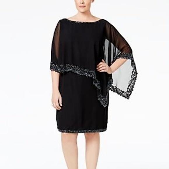 J Kara Plus Formal Beaded Cape Dress 20W